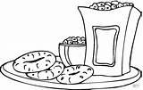 Coloring Snack Snacks Pages Printable Popcorn Sheets Drink Colouring Chips Sheet Pretzel Template Bagels Tea Salsa Helper Results sketch template