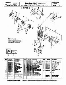 Poulan Pro Pp4218 Chainsaw Parts List  2006
