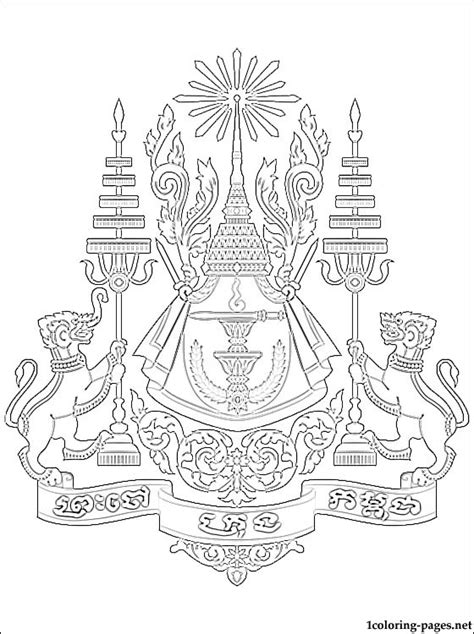 cambodia coat  arms coloring page coloring pages