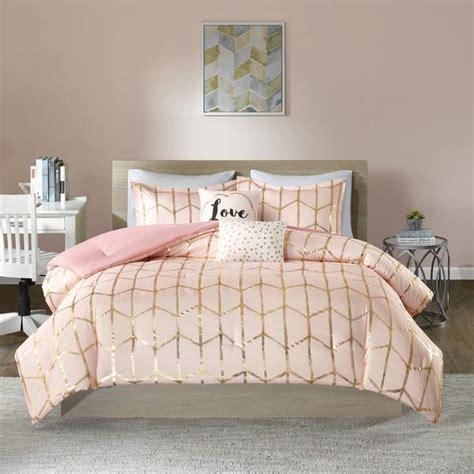 pale pink comforter set karley pink gold metallic dot 5pc comforter set