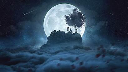 Moon Night Silhouettes Sky Starry Background Peak