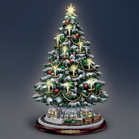 thomas kinkade candlelit tabletop tree  lights christmas