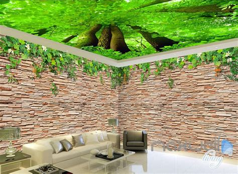 3d Wallpaper Deco by 3d Brick Wall Tree Top Ceiling Entire Living Room