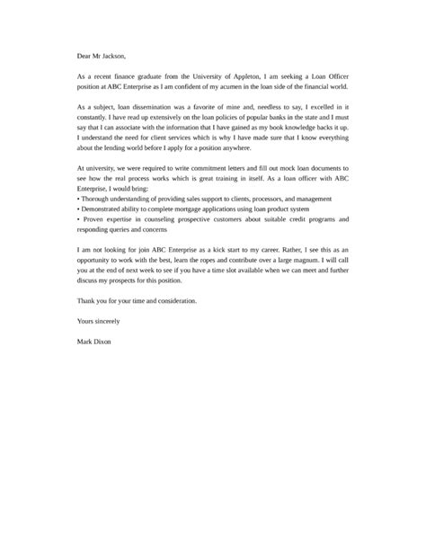 basic loan officer cover letter sles and templates