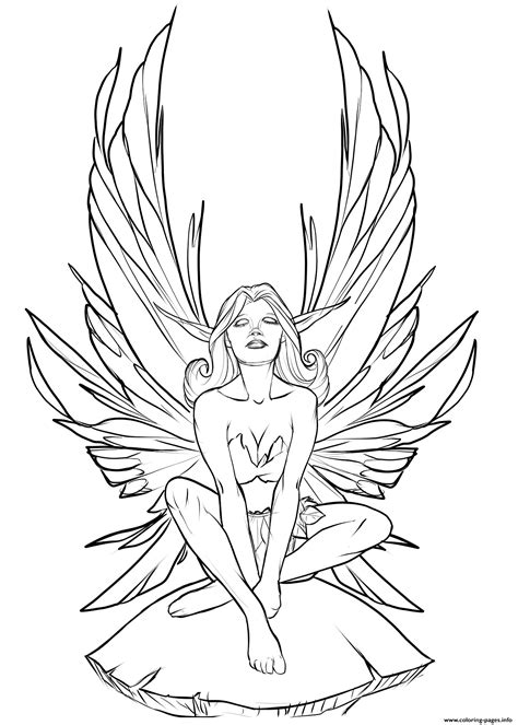 realistic fairy  adult coloring pages printable