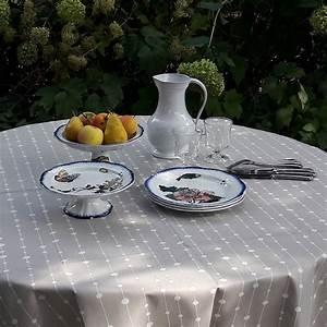 Nappe Ronde Grise : nappe enduite ronde ou ovale perles grise ~ Teatrodelosmanantiales.com Idées de Décoration