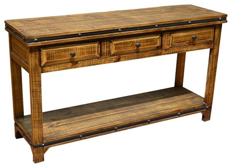 rustic wood sofa table addison rustic pine wood sofa table console with 3 drawers