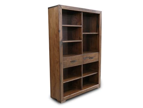 Abode Hardwood Timber Staggered Bookcase Book Case Book
