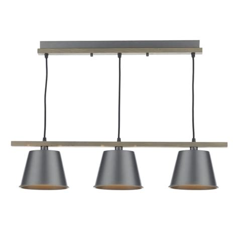 Bar Lamp Shades by Bar Pendant Ceiling Light In Natural Wood With Grey Metal