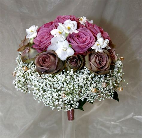 Romantic Wedding Bouquet With Lilac, Brown And White Cream