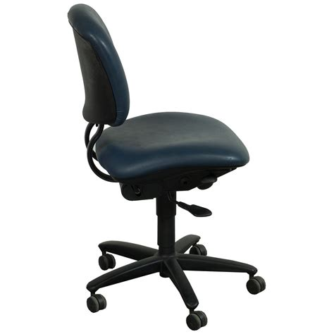 haworth improv used armless leather task chair blue
