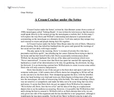 a cracker the settee a cracker the settee gcse marked