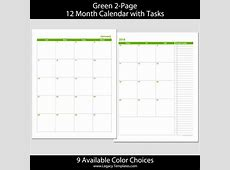 2018 12Month 2Page Calendar – 85 x 11 Legacy Templates