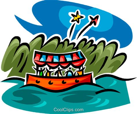 Boat Ride Drawing by Boat Ride And Fireworks Royalty Free Vector Clip