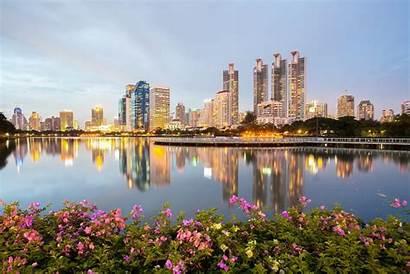Bangkok Thailand Bush Water Wallpapers Reflection Buildings