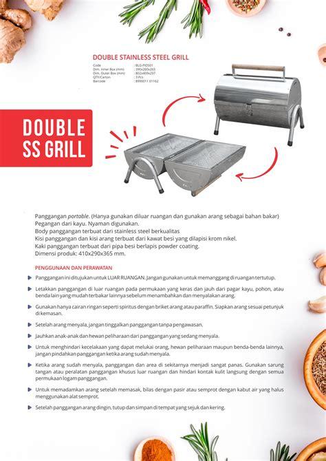 panggangan double stainless steel grill logam jawa maspion