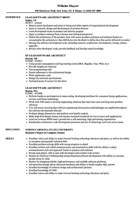 lead software architect resume sles velvet