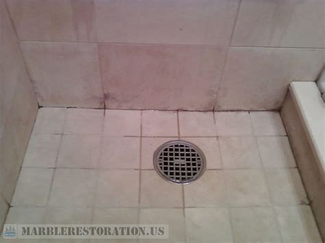 Mold on Marble Tiles in the Shower Cabin. Deep Mold Removal