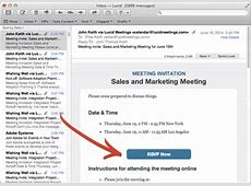Meeting requests, invitations, and followup meeting email