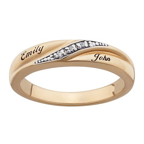 18k gold over sterling diamond accent name wedding band