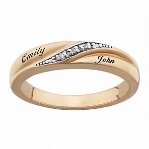 ladies 18k gold over sterling diamond accent name wedding band With name wedding rings