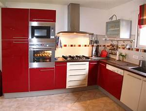 cuisine rouge mat With organisation cuisine