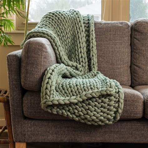 chunky knit throw sage green blanket warehouse