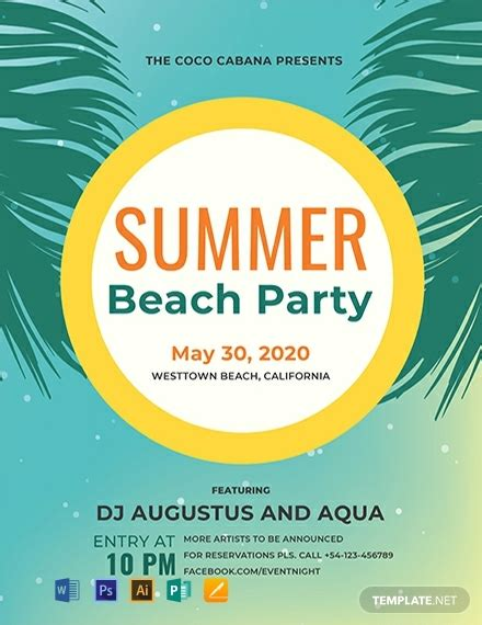 beach party flyer sample word psd apple pages