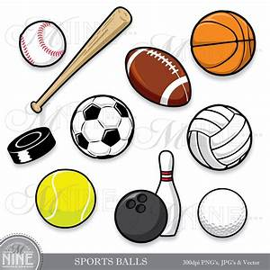 SPORTS BALLS Clip Art: Clipart Sport Ball Digital Clipart