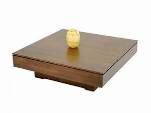 Table Basse Carrée : table basse carr e holly plateau sur socle central meubles bois massif ~ Teatrodelosmanantiales.com Idées de Décoration