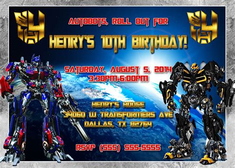 Transformers Party Invitations Template by Transformers Birthday Invitation Kustom Kreations