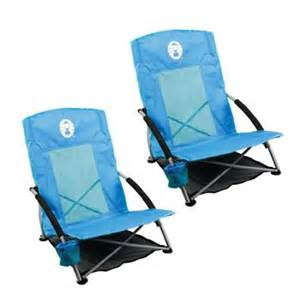 2 coleman low sling day trip beach cing chairs w cup