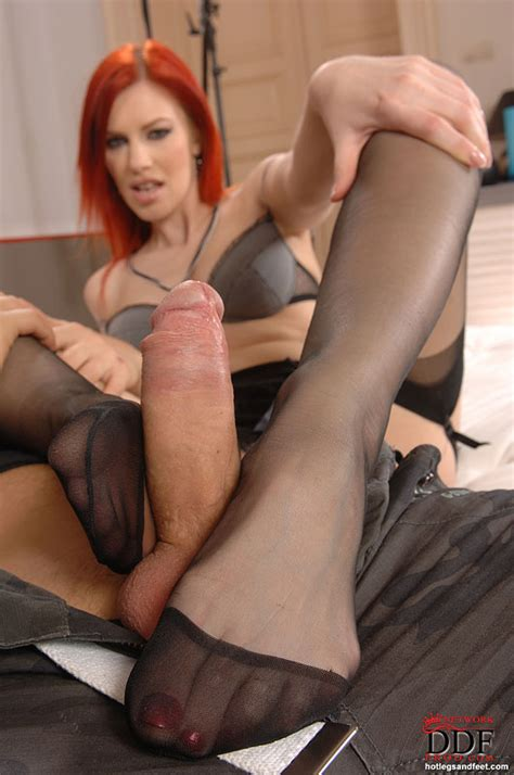 Leggy stocking Adorned Marsha Lord Removes High Heels To Give Footjob