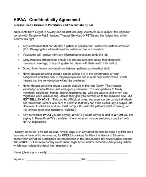 sample confidentiality agreement form   documents