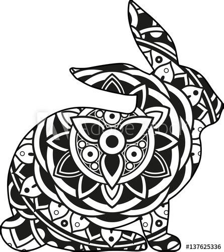 Circle mandala designs represent wholeness, a never ending circle and have become super popular with colouring in books and crafters over the past few years. Vector illustration of a mandala rabbit silhouette - Buy ...