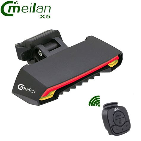 meilan x5 wireless bike bicycle rear light laser l smart usb rechargeable cycling