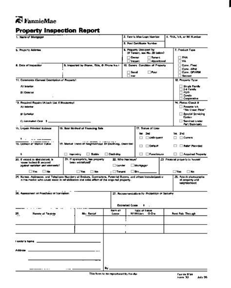 inspection report form fillable printable