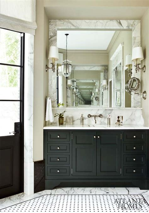 Black Cabinets Bathroom by Marble Mirror Surround Tile Sconces Bathrooms In 2019
