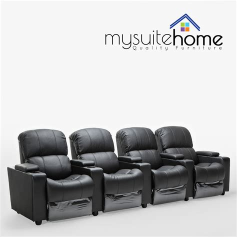 Home Theater Loveseat Recliners by Leather 4 Seater Home Theatre Recliner Sofa Lounge