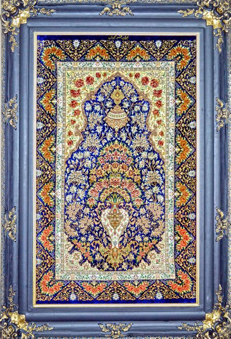 Qom Rugs by Flower In Vase Silk Persian Tableau Rug Pictorial Carpet