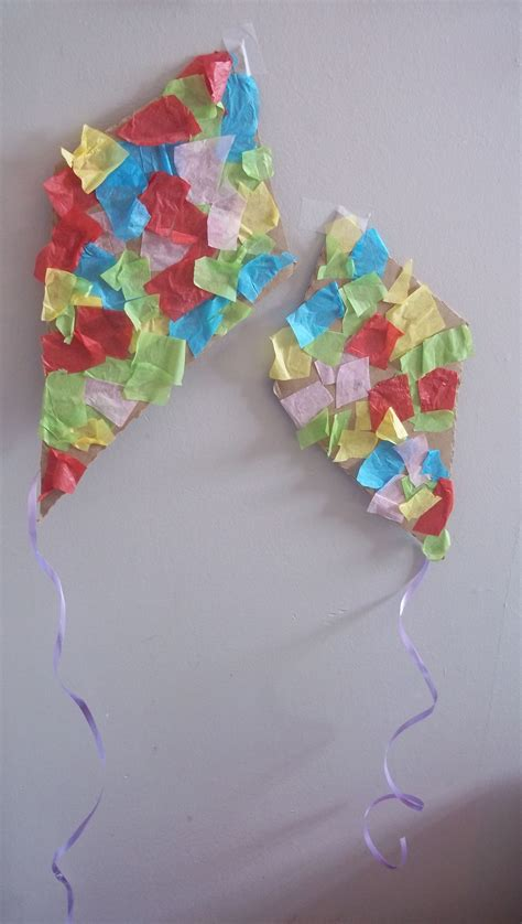 tissue paper kites   windy day weather crafts