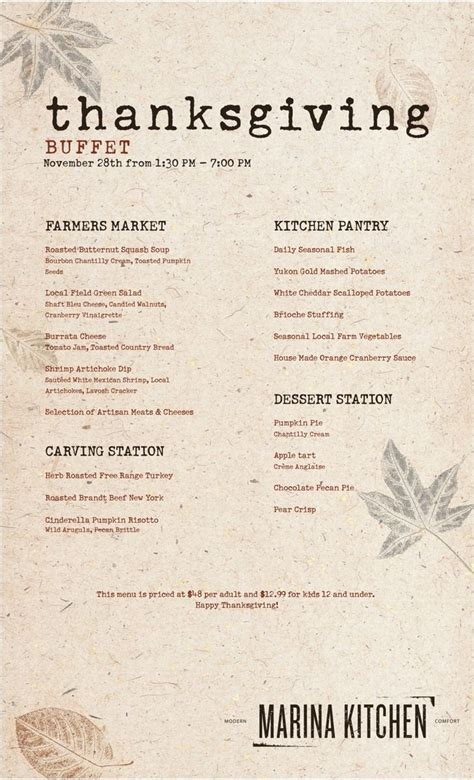 Kitchen Kabaret Thanksgiving Menu by Thanksgiving Buffet Menu At Marina Kitchen At The Marriott