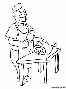 Butcher coloring page | Coloring pages
