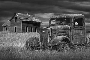 Old Vintage Pickup In Black And White By An Abandoned Farm ...