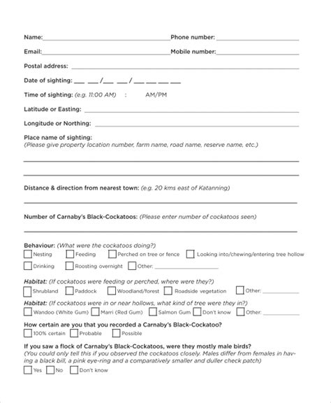 sample survey forms   excel ms word