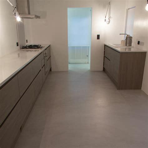 microcement kitchen floor poured resin  concrete flooring