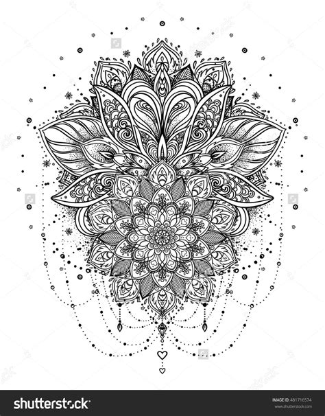 Vector ornamental Lotus flower, ethnic art, patterned Indian paisley. Hand drawn illustration