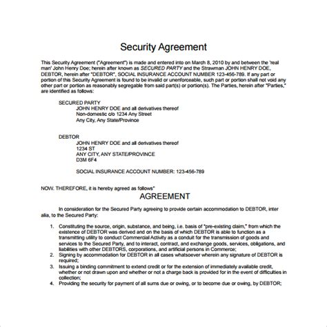 Security Contracts Templates by 10 Sle Free Security Agreement Templates Sle Templates
