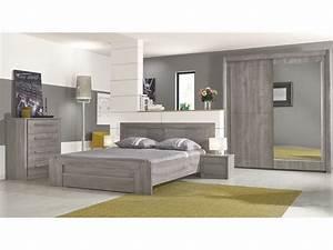 Lit 160x200 cm + tiroir EDEN coloris chêne gris Vente de Lit adulte Conforama