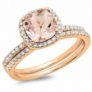 14K Rose Gold Cushion Cut Morganite & Round Cut White ...